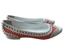 Second Hand Slipper/Ballerinas aus Leder in Orange