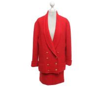 Second Hand  Bouclé-Kostüm in Rot