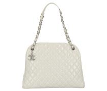 Second Hand Handtasche aus Leder in Weiß