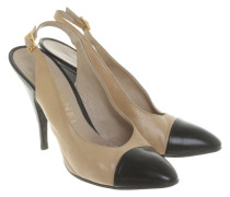 Second Hand  Slingbacks in Beige/Schwarz
