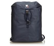Second Hand  V Line Pulse Backpack aus Leder in Schwarz