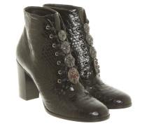 Second Hand Stiefeletten aus Leder in Schwarz