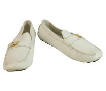 Second Hand  Slipper/Ballerinas aus Leder in Weiß
