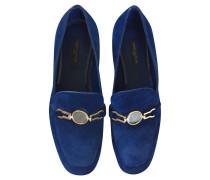 Second Hand  Slipper/Ballerinas aus Wildleder in Blau