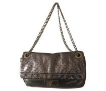 Second Hand Handtasche aus Leder in Silbern