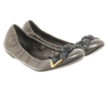 Second Hand Slipper/Ballerinas aus Leder in Silbern
