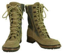 Second Hand Stiefel aus Wildleder in Khaki