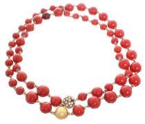 Second Hand  Perlenkette im Korallton