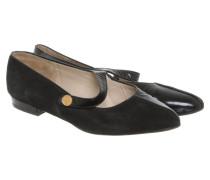 Second Hand  Slipper/Ballerinas aus Leder in Schwarz