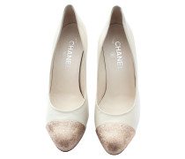 Second Hand Pumps/Peeptoes aus Leder in Creme