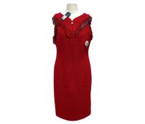 Second Hand  Rotes Wollkleid mit Leder