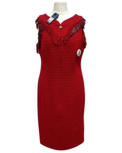 Second Hand  Rotes Wollkleid mit Leder