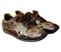 Second Hand  Sneakers aus Leder in Braun