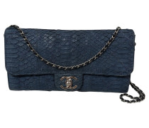 Second Hand  Classic Flap Bag aus Leder in Blau