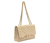 Second Hand  Classic Flap Bag aus Leder in Beige