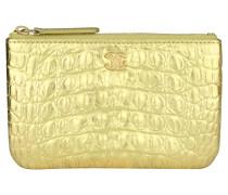 Second Hand Täschchen/Portemonnaie aus Leder in Gold