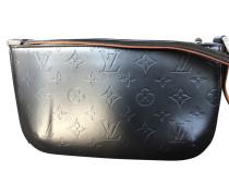 Second Hand Handtasche aus Leder in Grau