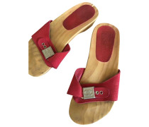 Second Hand Clogs Velourleder Rot