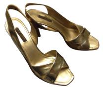 Second Hand Sandalen Leder Gold