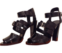 Second Hand Sandalen Lackleder Schwarz