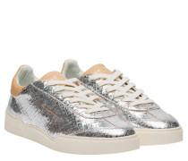 Sneaker aus Leder in Silber