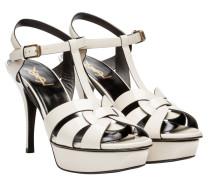 Sandalen aus Leder in Perlmuttweiß/Weiß