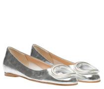 Ballerina aus Leder in Silber