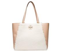 Handtasche aus Leder in Nude/Beige/Weiß/Rosa