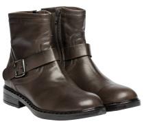 Stiefel aus Leder in Dunkelgrau/Grau