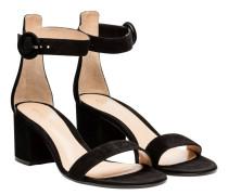 Sandalen aus Veloursleder in Schwarz