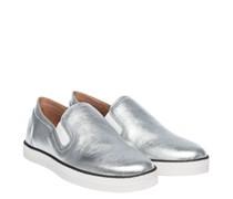 Slip Ons aus Leder in Silber