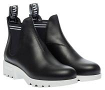 Stiefel aus Leder in Schwarz/Weiß