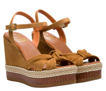 Wedges aus Leder in Cognac/Braun/Orange