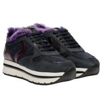 Sneaker aus Leder in Nachtblau/Blau