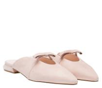 Mules aus Leder in Nude/Beige/Weiß/Rosa