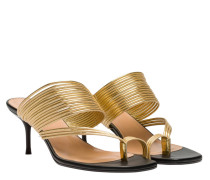 Mules aus Leder in Gold/Gelb