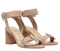 Sandalen aus Leder in Nude/Beige/Weiß/Rosa