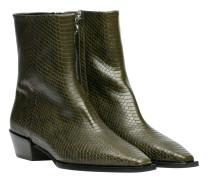 Stiefel aus Leder in Dunkelgrün/Grün