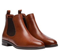 Stiefel aus Leder in Cognac/Braun/Orange