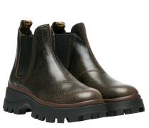 Stiefel aus Leder in Dunkelbraun/Braun