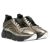 Sneaker aus Leder in Bronze/Braun/Grau/Orange
