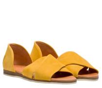 Sandalen aus Leder in Gelb