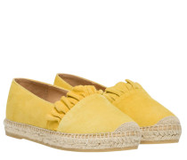Espadrilles aus Leder in Gelb