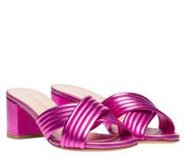 Sandalen aus Leder in Fuchsia/Violett/Rosa