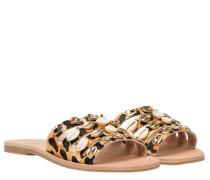 Sandalen aus Leder in Leo/Braun/Gelb/Orange/Schwarz