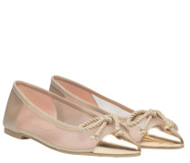 Ballerina aus Leder in Gold/Gelb