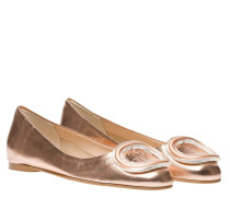 Ballerina aus Leder in Altrosa/Rosa