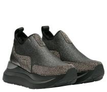 Sneaker aus Leder in Platin/Silber/Grau