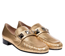 Loafer aus Leder in Gold/Gelb