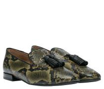 Loafer aus Leder in Oliv/OlivGrün/Grün
